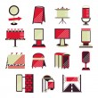 Red flat vector icons for outdoor advertising — Stock Vector #78075968