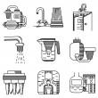 Water filters flat line vector icons — Stock Vector #78168482