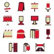 Advertising constructions red flat vector icons — Stock Vector #78170050