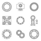 Set of bearings flat line vector icons — 图库矢量图片