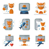 Cat selfie flat colored icons — Stock Vector