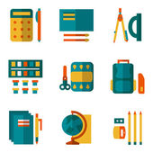 Simple color vector icons set for school supplies — Stock Vector