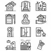 Rental of property line vector icons — Stok Vektör