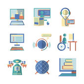Flat color vector icons for e-education — Stock Vector