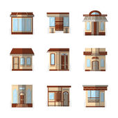 Storefronts flat color vector icons — Stock Vector