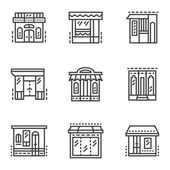 Storefronts line vector icons — Wektor stockowy