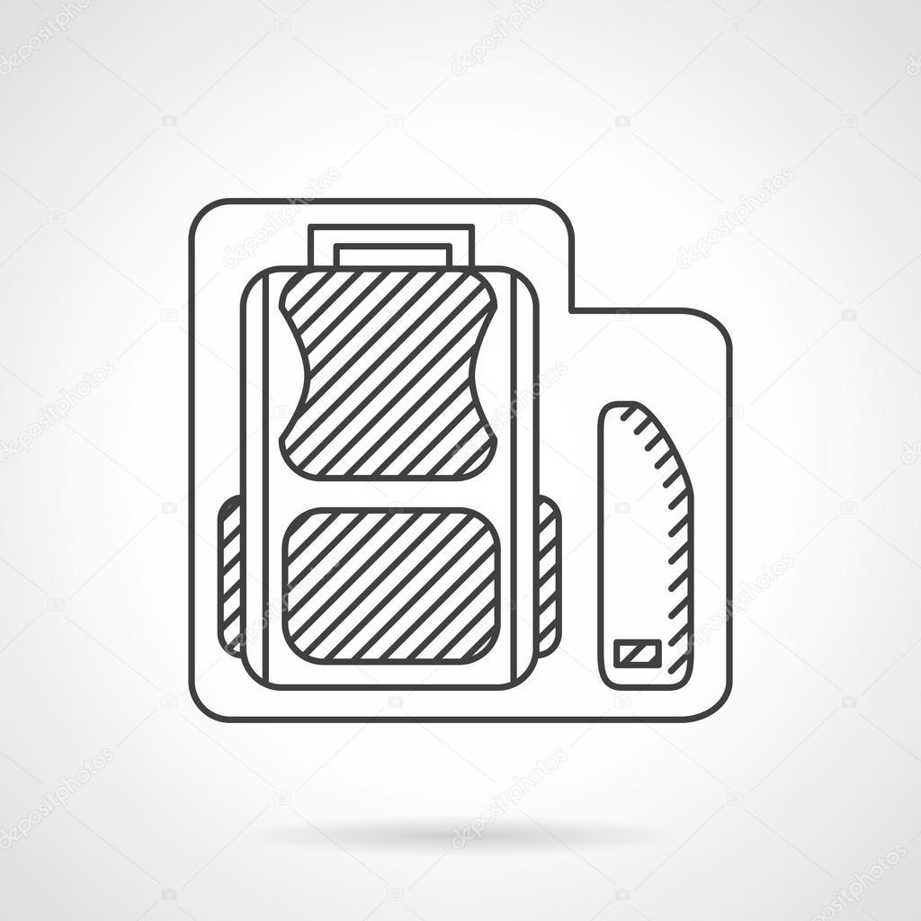 School bag diagram - School Bag With Pencils Box Line Vector Icon Stock Vector 83976458
