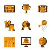Flat style basketball orange vector icons — Stock Vector