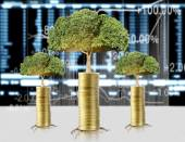 Gold the coins and graph them  and plant growing  — 图库照片