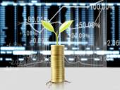 Gold the coins and graph them  and plant growing  — Foto de Stock