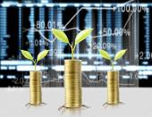 Gold the coins and graph them  and plant growing  — Stock Photo