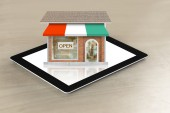 Looking shop from  tablet — Stock Photo