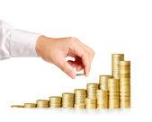Ruce dejte mince peníze — Stock fotografie
