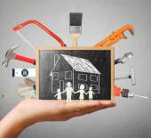 Selection of tools in the shape,home improvement concept — Stock Photo