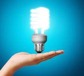 Light bulb idea in the hand — Stock Photo