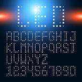 LED alphabet font and number — ストックベクタ
