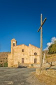 Church and cross at Costa in Corsica — Stock Photo