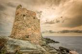 Genoese tower at Erbalunga On Cap Corse in Corsica — Stock Photo