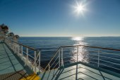 Deck of Mediterranean ferry heading towards the sun — Stock Photo