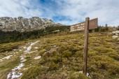 Sign marking Mare a Mare walk at Col de Vergio in Corsica — Stock Photo