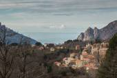 Evisa in Corsica with mountains and sea behind — Stock Photo