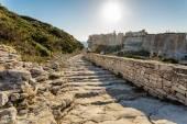 Steps leading down towards Bonifacio citadel in Corsica — Stock Photo