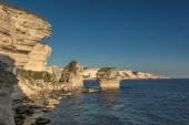 White cliffs, stacks and Mediterranean at Bonifacio in Corsica — Foto Stock