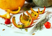 The baked pumpkin slices — Stock Photo