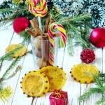 Cinnamon, sugar candies, orange — Stock Photo #59883263