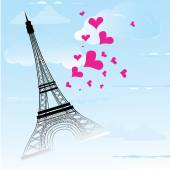 Paris town in France card as symbol love and romance travel  — 图库矢量图片