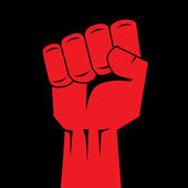 Fist red clenched hand vector. Victory, revolt concept. Revolution, solidarity, punch, strong, strike, change illustration. Easy to change color. — Stock Vector