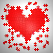Colorful puzzle pieces in heart shape. 3d illustration isolated on white background — Foto de Stock