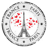 Paris town in France grunge stamp love heart, eiffel tower vector — Stock Vector