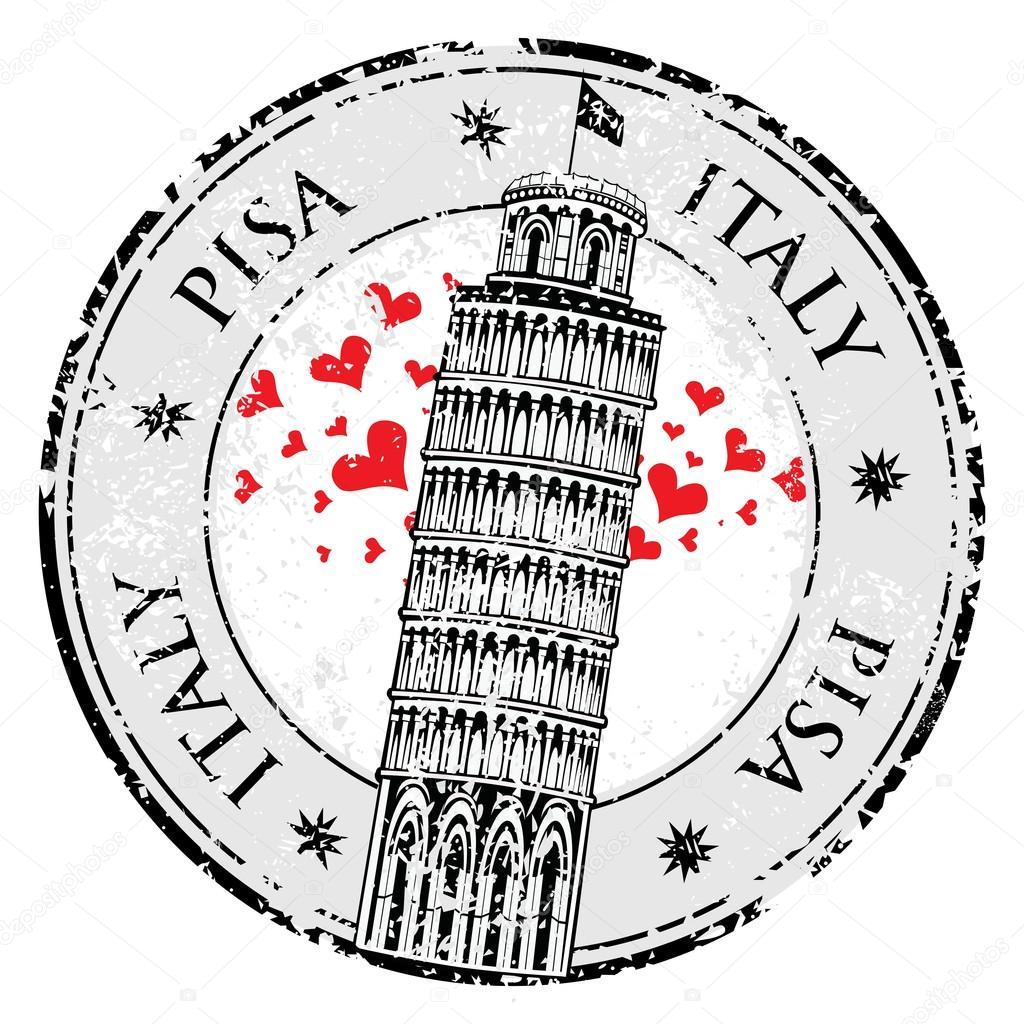 Timbre de la tour de pise en italie vector image vectorielle 74222835 - Taille de la tour de pise ...