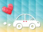 Car with red heart balloons — Wektor stockowy