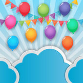 Balloon and party flags sky background — Stockvektor