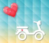 Motorcycle with red heart balloons — Vector de stock