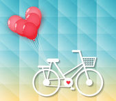 Bicycle with red heart balloons — Stock Vector