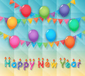 Happy new year candles balloon and party flags sky background — Stock Vector
