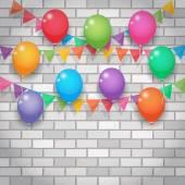Ballon und parteipolitischen Flaggen auf Brickwall-Hintergrund — Stockvektor