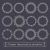Flower decorative wreaths — Stock Vector