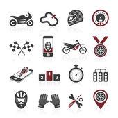 Motorcycle racing icon set — Stock Vector