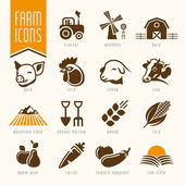 Farm and butcher shop icon set — Stock Vector