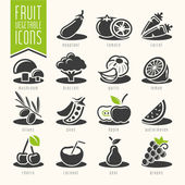 Fruit and Vegetable Icon Set — Vetorial Stock