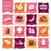 Bakery, patisserie icon set — Stock Vector