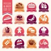 Bakery, patisserie icon set — Stock Vector