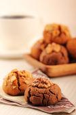 Walnut and hazelnut cookies with coffee. — Stock Photo
