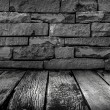 Old Wooden floor with grunge stone wall in the dark with BW — Stock Photo #60408227
