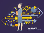 Woman manager keeps folder — Stock Vector