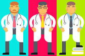 Emotion men, they are dressed in medical gown and a stethoscope around neck — Stock Vector